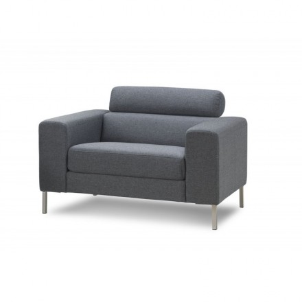 CHARLINE designer armchair in fabric (grey)