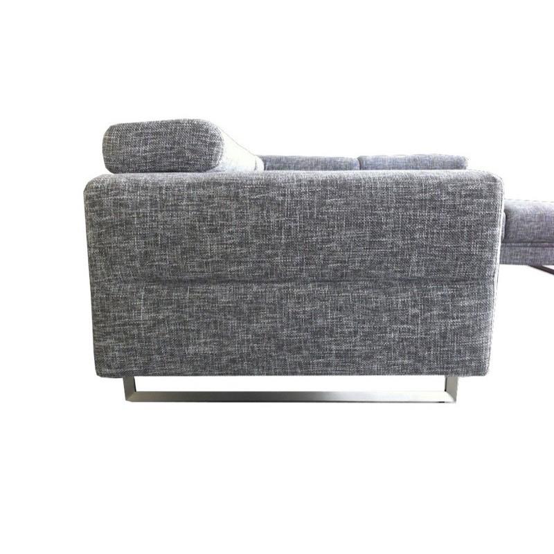 Canapé d'angle côté Droit design 5 places avec méridienne MATHIS en tissu (gris clair chiné) - image 30177