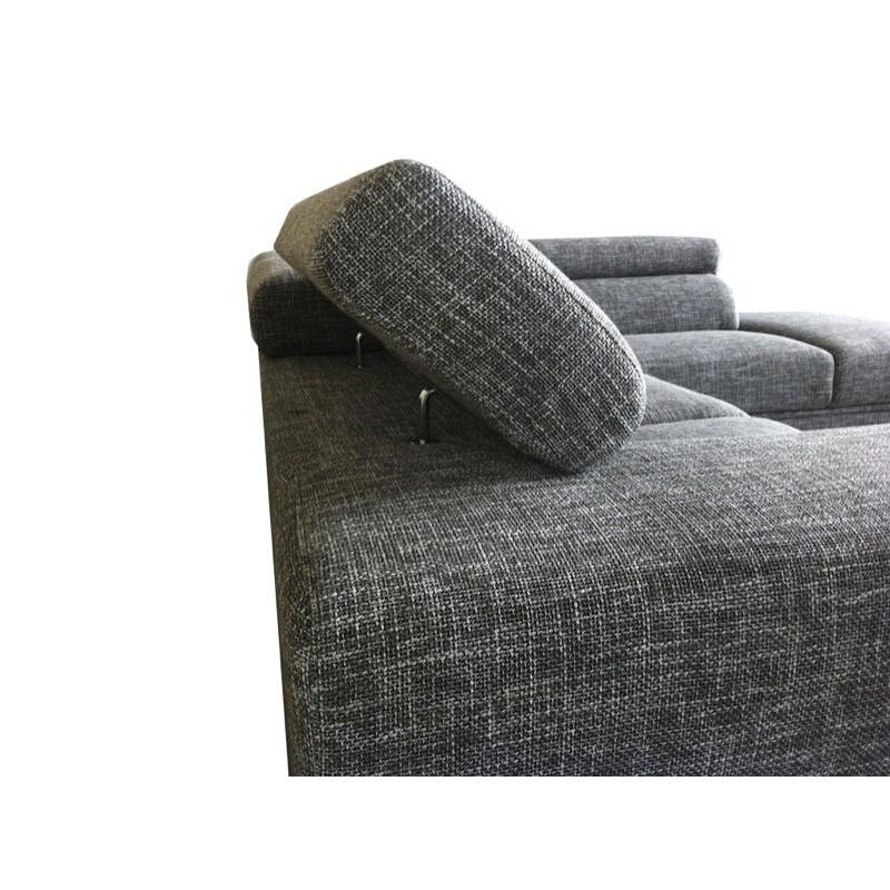 Canapé d'angle côté Droit design 5 places avec méridienne MATHIS en tissu (gris clair chiné) - image 30178