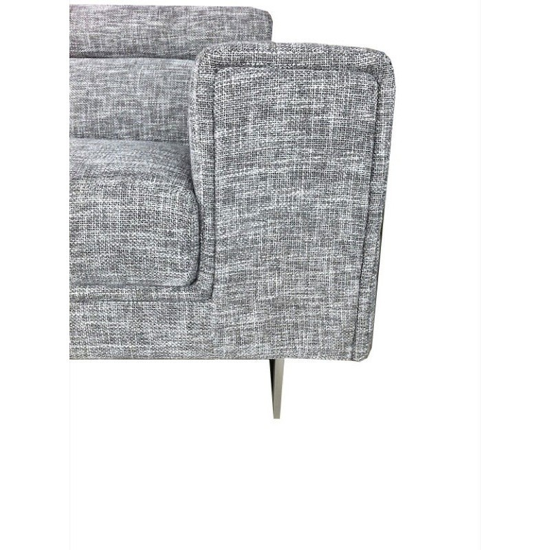 Canapé d'angle côté Droit design 5 places avec méridienne MATHIS en tissu (gris clair chiné) - image 30179