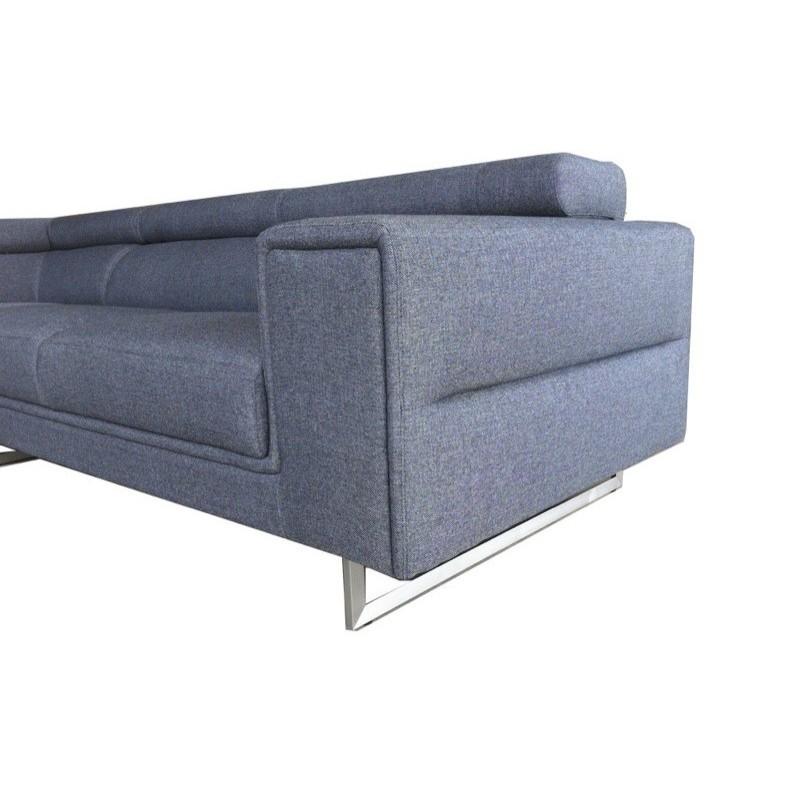 Canapé d'angle Droit design 5 places avec méridienne MATHIS en tissu (gris foncé) - image 30190
