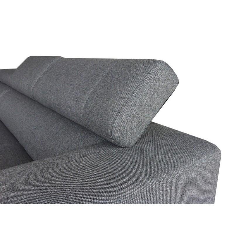 Canapé d'angle Droit design 5 places avec méridienne MATHIS en tissu (gris foncé) - image 30191