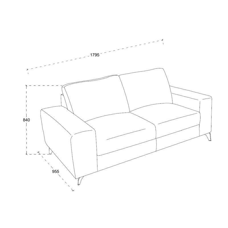 Canapé droit design 2 places ALBERT en tissu (gris clair chiné) - image 30200