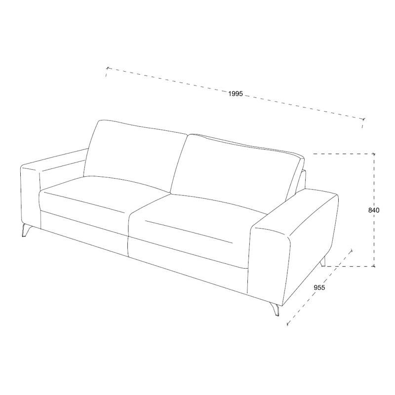 Canapé droit design 3 places ALBERT en tissu (gris clair chiné) - image 30214