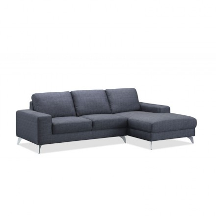 Corner sofa design right side 3-seater with chaise THEO in fabric (dark gray)