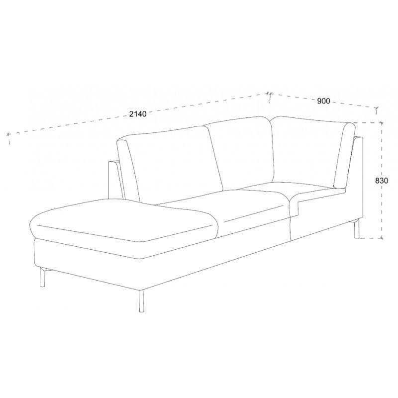 Canapé d'angle côté Droit design 3 places avec méridienne MORIS en tissu (gris foncé) - image 30235