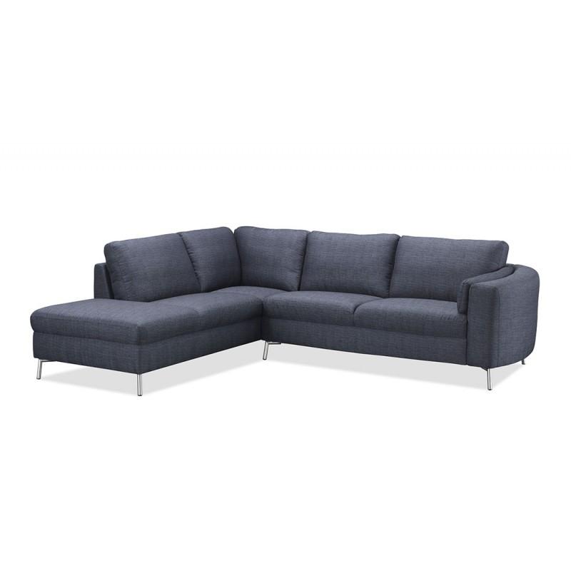 Canapé d'angle côté Gauche design 3 places avec méridienne MORIS en tissu (gris foncé) - image 30237