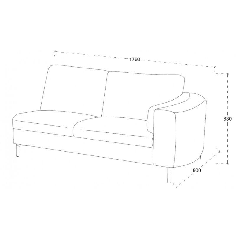 Canapé d'angle côté Gauche design 3 places avec méridienne MORIS en tissu (gris foncé) - image 30238