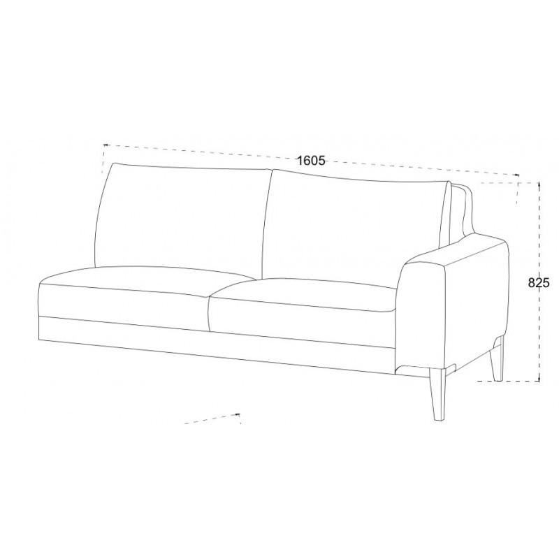 Canapé d'angle côté Droit design 3 places avec méridienne SERGIO en tissu (gris) - image 30241