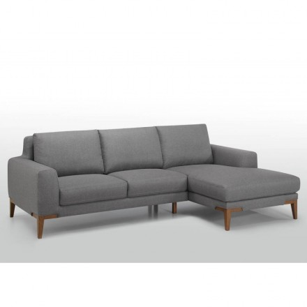 Corner sofa design right-hand 3 seats with SERGIO chaise in fabric (grey)