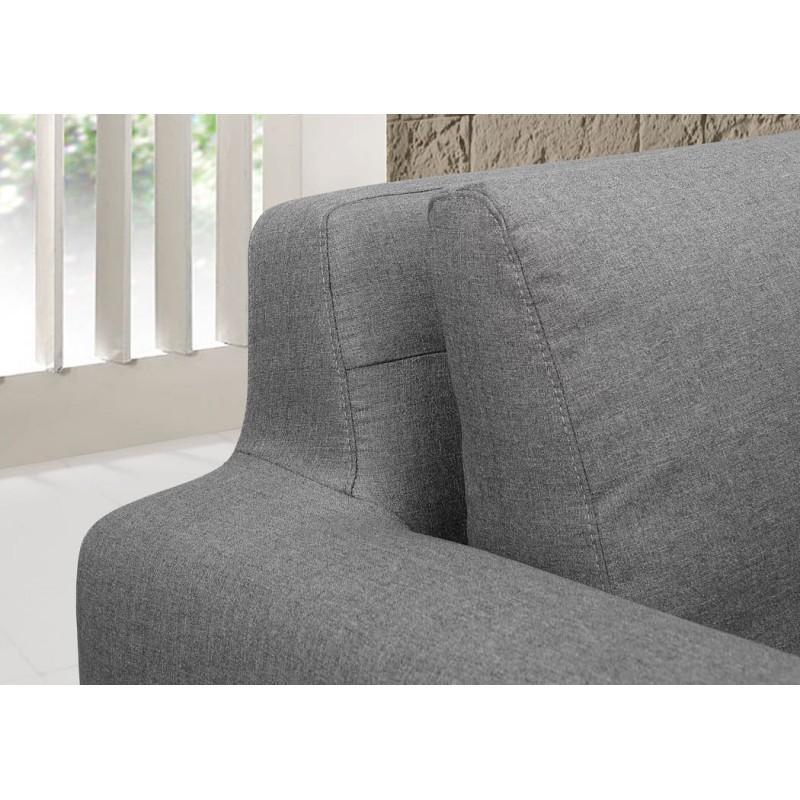 Canapé d'angle côté Droit design 3 places avec méridienne SERGIO en tissu (gris) - image 30245