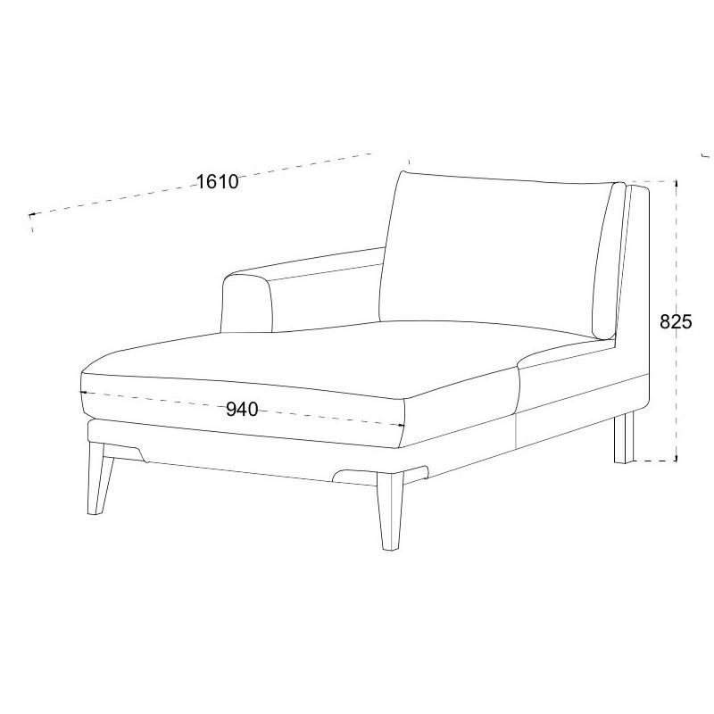 Canapé d'angle côté Gauche design 3 places avec méridienne SERGIO en tissu (gris) - image 30250
