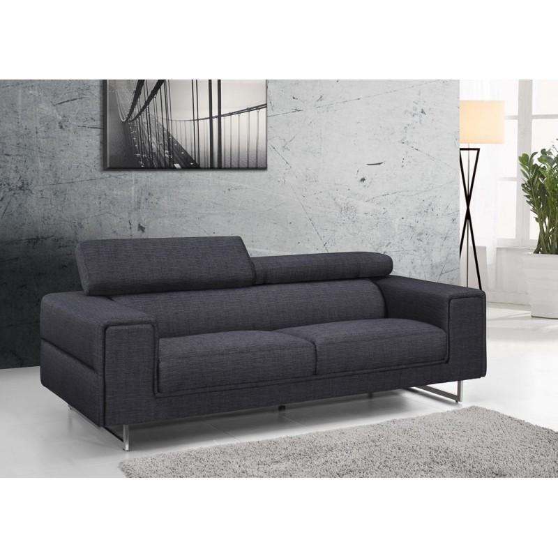 Canap droit design 3 places mario en tissu gris fonc - Canape places gris ...