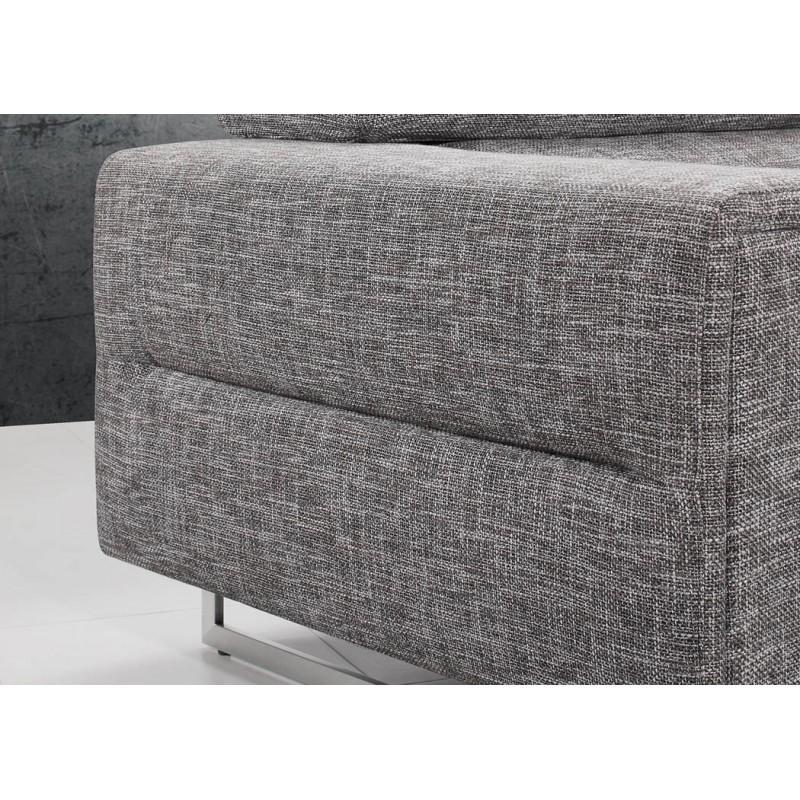 Canapé droit design 3 places MARIO en tissu (gris clair chiné) - image 30271
