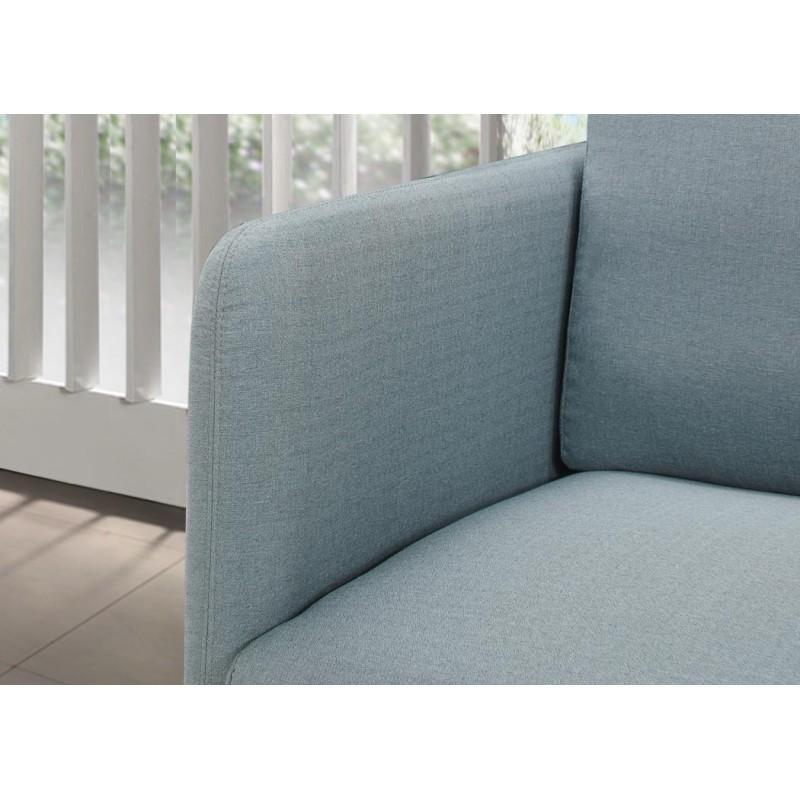 Fauteuil vintage cubique JONAZ en tissu (bleu clair) - image 30276