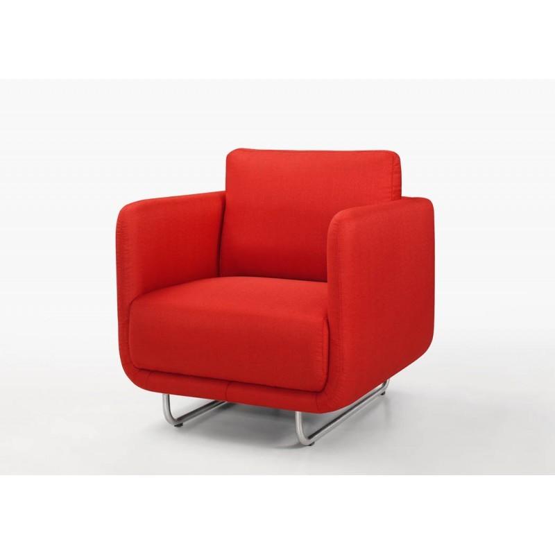 Fauteuil vintage cubique JONAZ en tissu (rouge) - image 30285