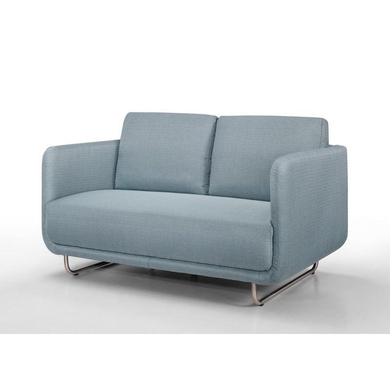 Canapé droit vintage cubique 2 places JONAZ en tissu (bleu clair) - image 30290