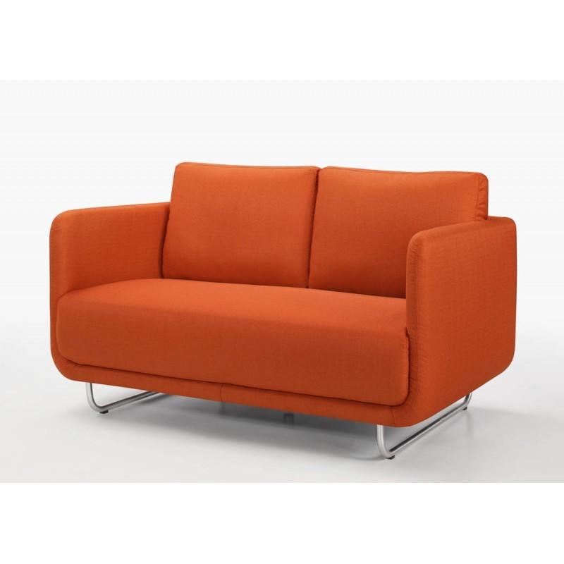 canap droit vintage cubique 2 places jonaz en tissu orange. Black Bedroom Furniture Sets. Home Design Ideas