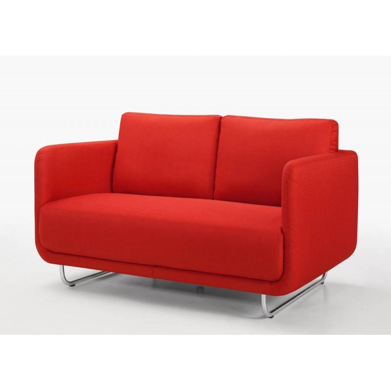 Canapé droit vintage cubique 2 places JONAZ en tissu (rouge) - image 30300