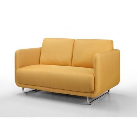 Sofa vintage cubic right 2 places JONAZ in fabric (yellow)