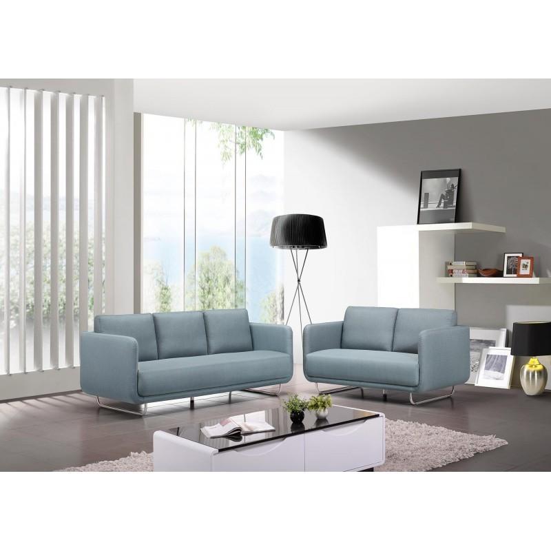 Canapé droit vintage cubique 3 places JONAZ en tissu (bleu clair) - image 30310