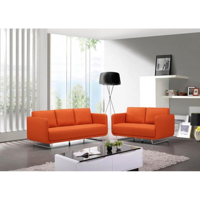 Canapé droit vintage cubique 3 places JONAZ en tissu (orange) - image 30315