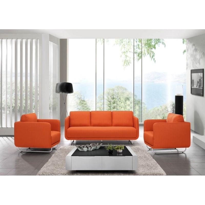 canap droit vintage cubique 3 places jonaz en tissu orange. Black Bedroom Furniture Sets. Home Design Ideas