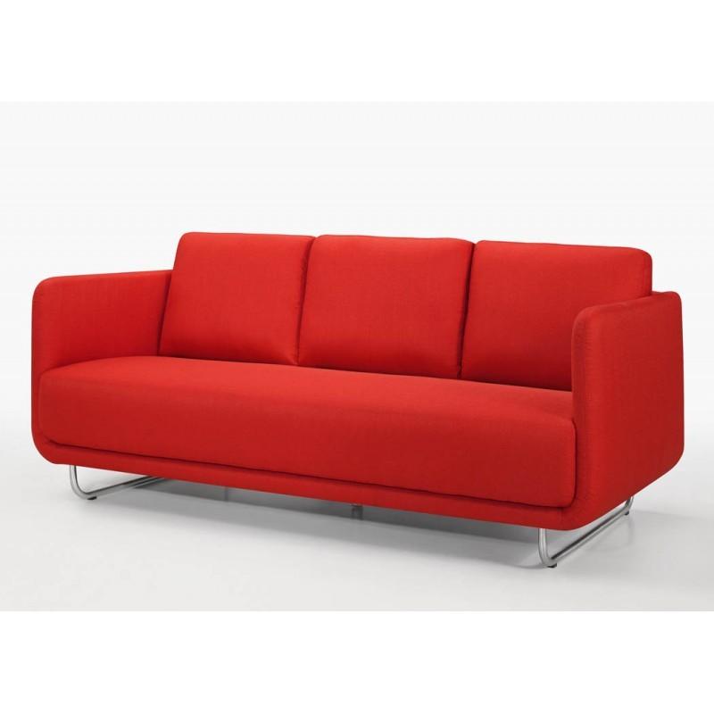 Canapé droit vintage cubique 3 places JONAZ en tissu (rouge) - image 30323