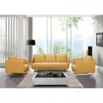 Canapé droit vintage cubique 3 places JONAZ en tissu (jaune)