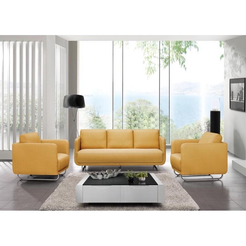 Canapé droit vintage cubique 3 places JONAZ en tissu (jaune) - image 30327