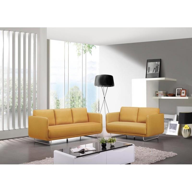 Canapé droit vintage cubique 3 places JONAZ en tissu (jaune) - image 30328