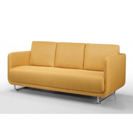 Sofa vintage cubic right 3 places JONAZ in fabric (yellow)