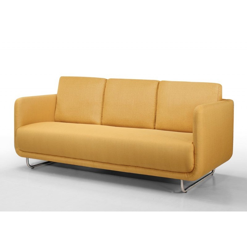 Canapé droit vintage cubique 3 places JONAZ en tissu (jaune) - image 30329
