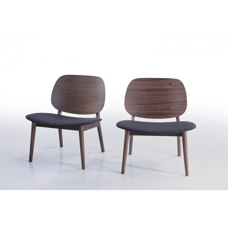 Lot de 2 petits fauteuils rétro vintage RACHEL en tissu et bois (gris foncé, noyer)