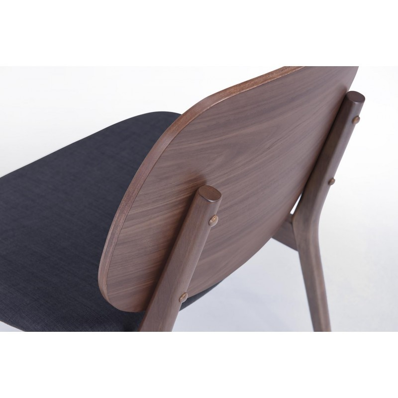 Lot de 2 petits fauteuils rétro vintage RACHEL en tissu et bois (gris foncé, noyer) - image 30353