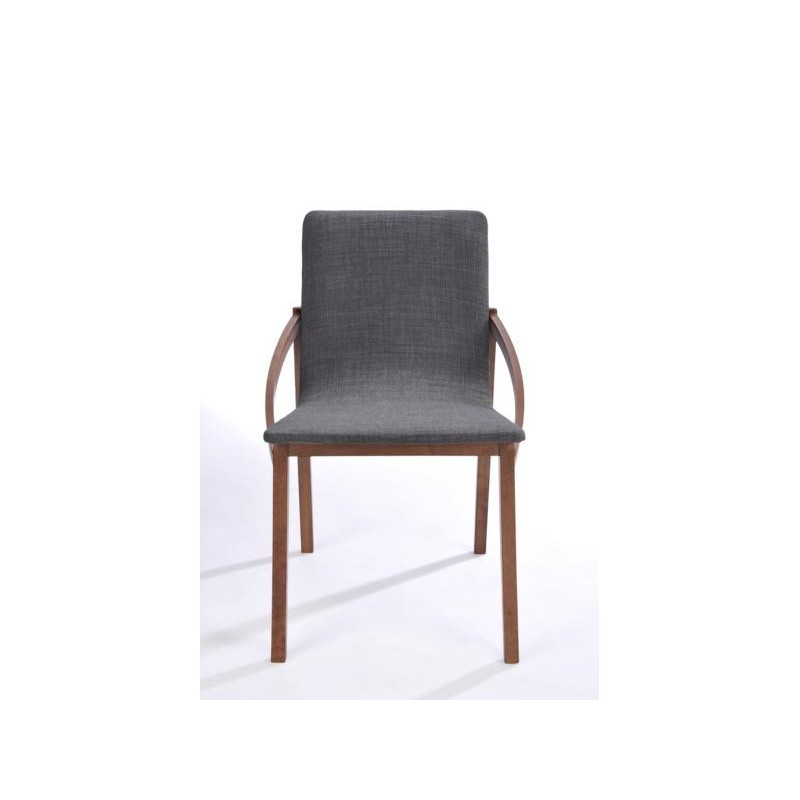 Set of 2 contemporary chairs MARIANNE in fabric and wood (anthracite grey, walnut) - image 30357