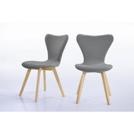 2 zeitgenössische Stühle SHANA aus Stoff und Holz (grau)