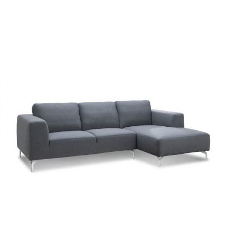Corner sofa design right side 4-seater with chaise ORIANE in fabric (grey)