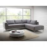 Canapé d'angle côté Droit design 5 places avec méridienne JUSTINE en tissu (gris clair chiné)
