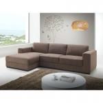 Canapé d'angle côté Gauche design 4 places avec méridienne  MAGALIE en tissu (marron)