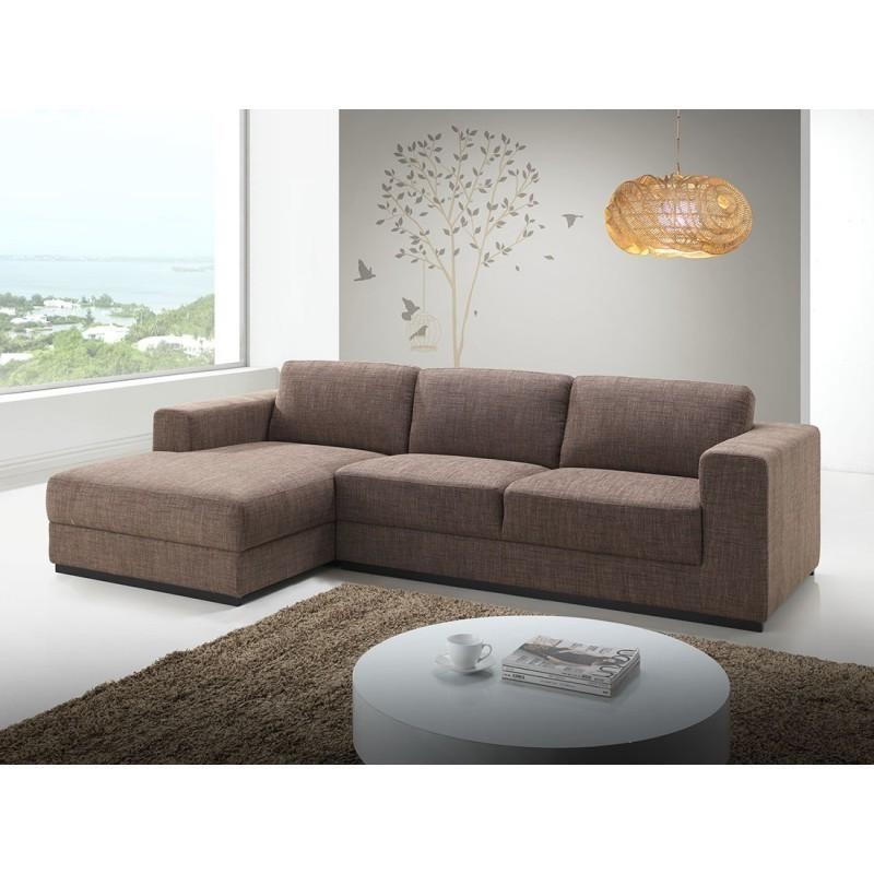 Canapé d'angle côté Gauche design 4 places avec méridienne  MAGALIE en tissu (marron) - image 30387