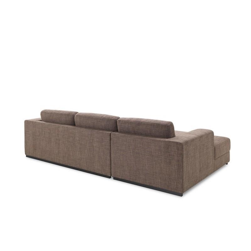 Canapé d'angle côté Gauche design 4 places avec méridienne  MAGALIE en tissu (marron) - image 30389