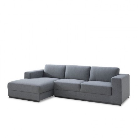 Corner sofa design left 4 side seats with Ma chaise in fabric (grey)