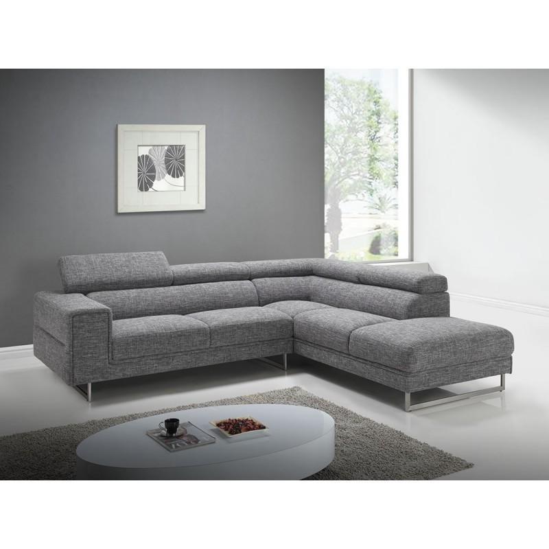Canapé d'angle côté Droit design 5 places avec méridienne MATHIS en tissu (gris clair chiné) - image 30395