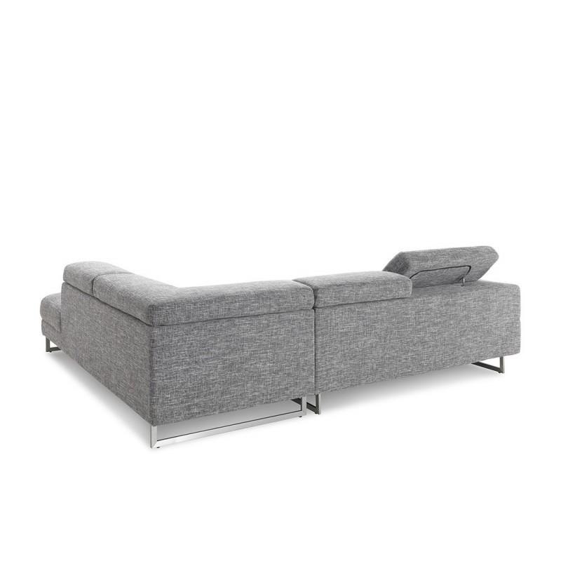Canapé d'angle côté Droit design 5 places avec méridienne MATHIS en tissu (gris clair chiné) - image 30396