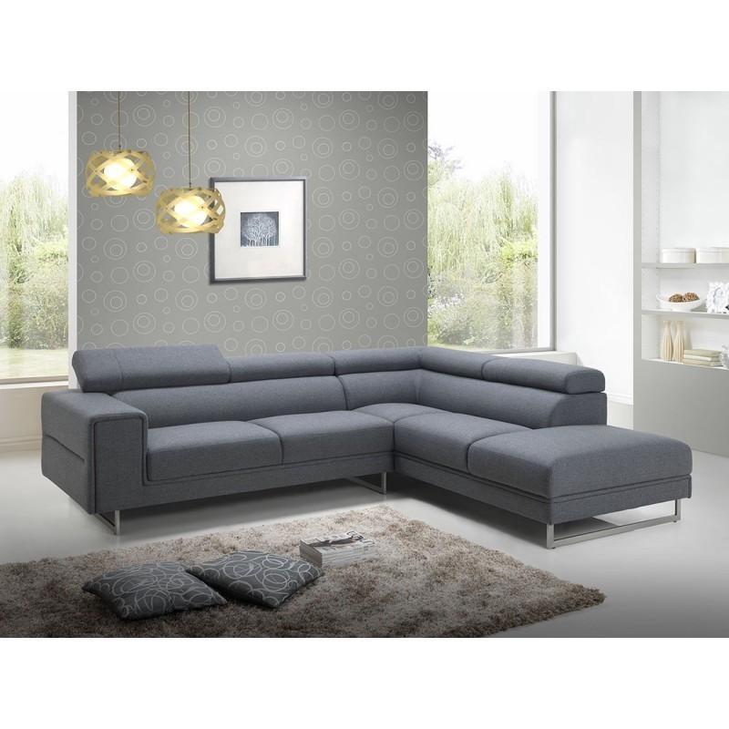 Canapé d'angle Droit design 5 places avec méridienne MATHIS en tissu (gris foncé) - image 30397