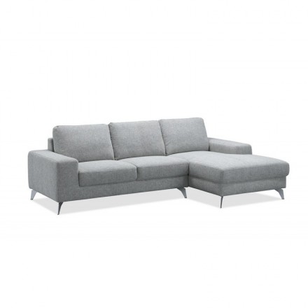 Corner sofa design right side 3-seater with chaise THEO in fabric (light gray)