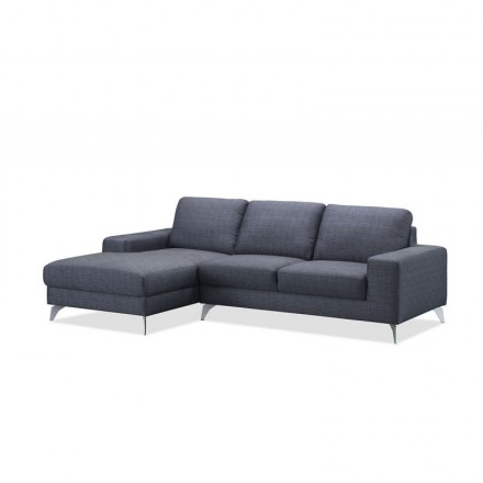 Corner sofa design left 3 places with THEO chaise in fabric (dark gray)