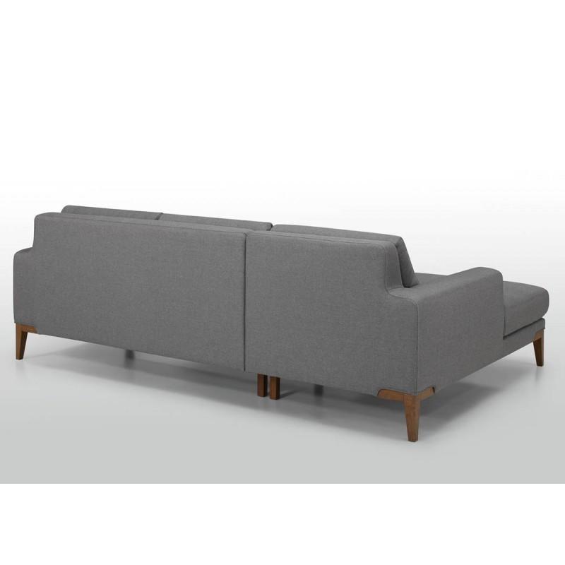 Canapé d'angle côté Gauche design 3 places avec méridienne SERGIO en tissu (gris) - image 30412