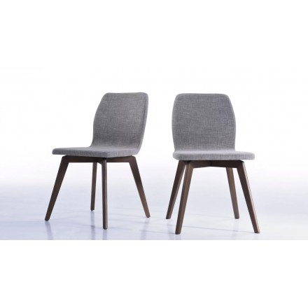 Set of 2 contemporary chairs MAGUY in fabric (light gray)